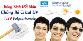 Tròng Kính Đổi Màu Chống Bể Crizal 1.5 9 Polycarbonate